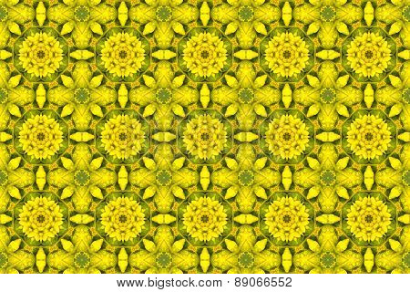 yellow kaleidoscopic floral pattern
