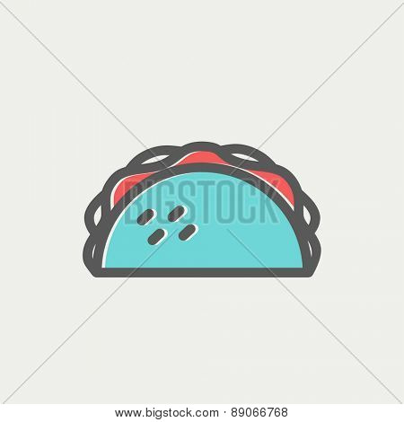 Taco icon thin line for web and mobile, modern minimalistic flat design. Vector icon with dark grey outline and offset colour on light grey background.