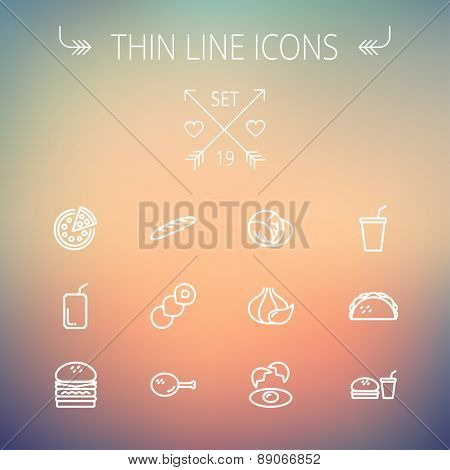 Food and drink thin line icon set for web and mobile. Set includes-onion, egg, chicken, meal set, soda, burger, taco icons. Modern minimalistic flat design. Vector white icon on gradient mesh