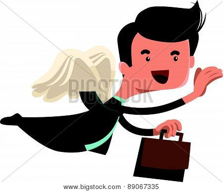Businessman flying with briefcase vector illustration cartoon character
