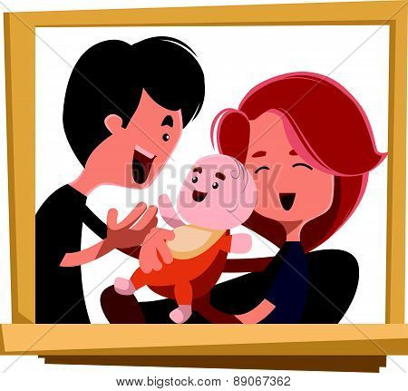 Happy family portrait vector illustration cartoon character