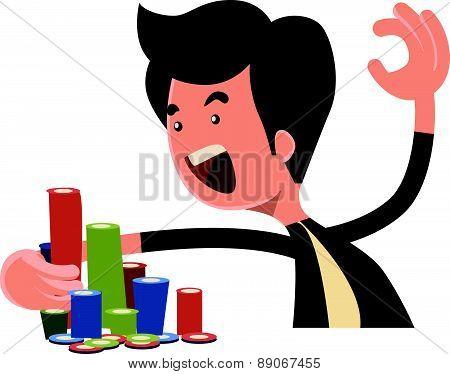 All in pocker chips vector illustration cartoon character