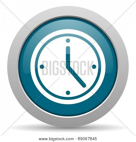 time blue glossy web icon