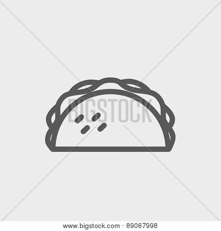 Taco icon thin line for web and mobile, modern minimalistic flat design. Vector dark grey icon on light grey background.