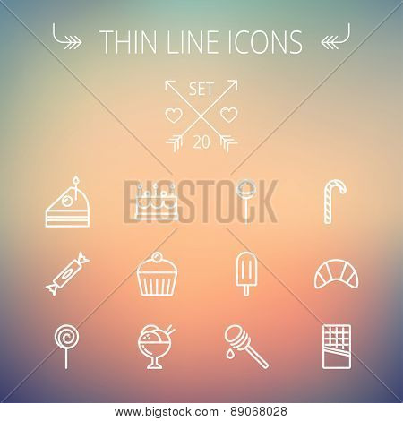 Food and drink thin line icon set for web and mobile. Set includes- cake, candy, lollipop, cupcake, ice cream, honey dipper, popsicle, waffle icons. Modern minimalistic flat design. Vector white icon