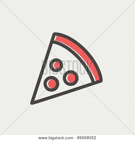 Pizza slice icon thin line for web and mobile, modern minimalistic flat design. Vector icon with dark grey outline and offset colour on light grey background.