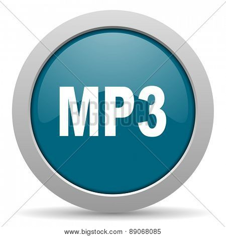 mp3 blue glossy web icon