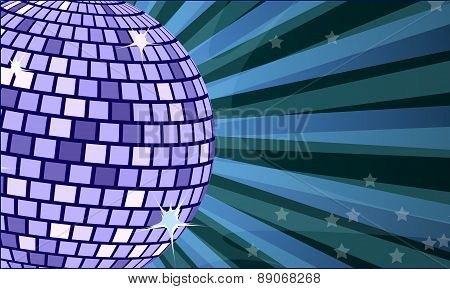 Disco background with rays and mirror ball. Vector illustration (EPS 10).
