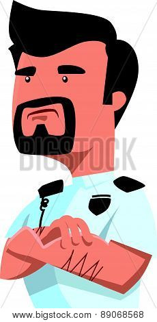 Security officer watching vector illustration cartoon character