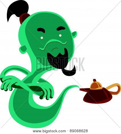 Ghost from magical oil lamp vector illustration cartoon character