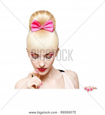 Glamorous girl  peeking isolated on white background Billboard
