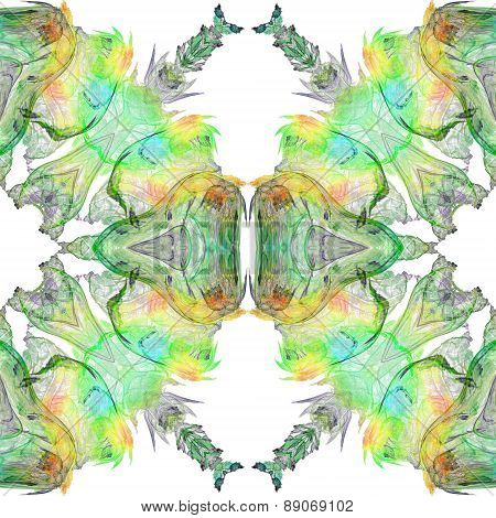 Seamless Kaleidoscope Texture Or Pattern In Green On White