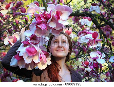woman and magnolias