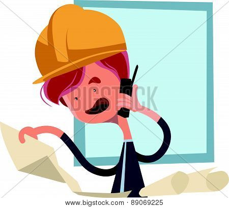 Construction worker looking at blueprints vector illustration cartoon character