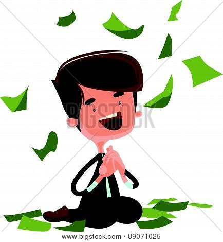 Raining money happy man sitting vector illustration cartoon character
