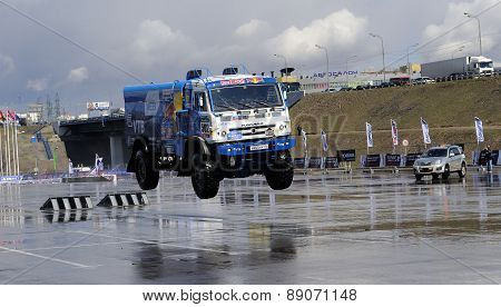 Russian truck rally Kamaz in jump