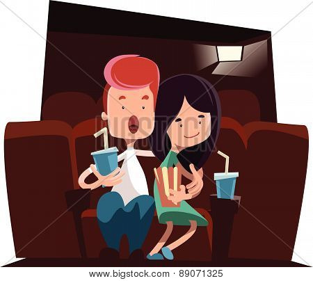 Cute couple at cinema theatre vector illustration cartoon character