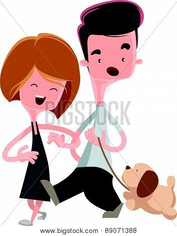 Couple walking their pet dog vector illustration cartoon character