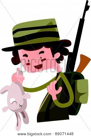 Hunter shoot wild bunny vector illustration cartoon character