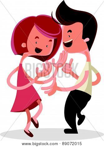 Young couple dancing vector illustration cartoon character