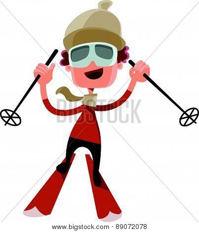Going skiing in winter vector illustration cartoon character