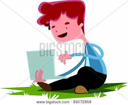 Young boy with lap top on grass vector illustration cartoon character