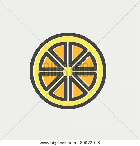 Sliced of lemon icon thin line for web and mobile, modern minimalistic flat design. Vector icon with dark grey outline and offset colour on light grey background.