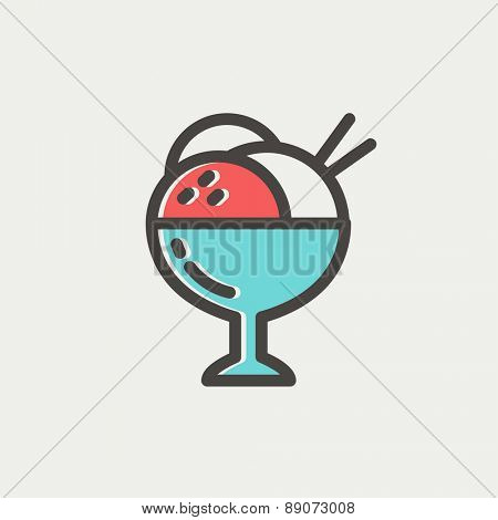 Ice cream on cup icon thin line for web and mobile, modern minimalistic flat design. Vector icon with dark grey outline and offset colour on light grey background.