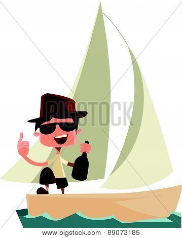 Rich man celebrating on yacht vector illustration cartoon character