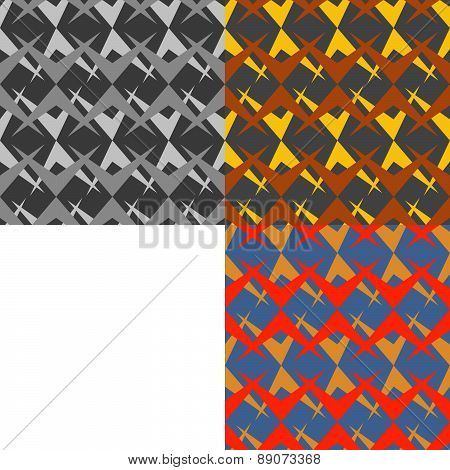 Set Of Three Color Abstract Chevron Seamless Vector Patterns