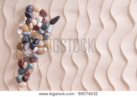 Creative Pebble Map Of Argentina On Beach Sand