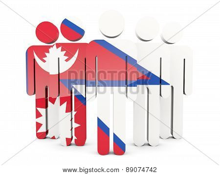 People With Flag Of Nepal