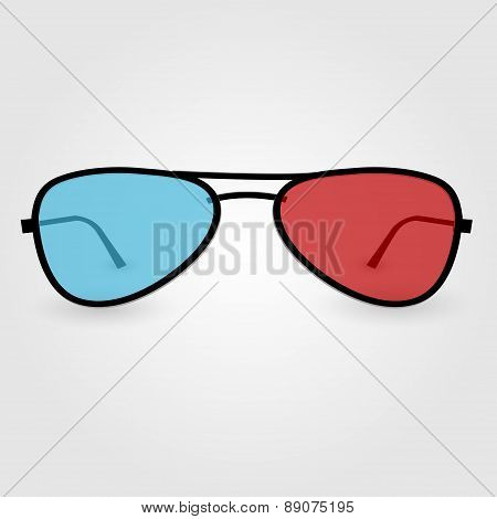 Realistic 3D Anaglyph Glasses. Vector Illustration.