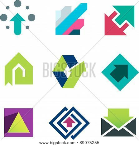 Green arrows pointing up business and life success icon set