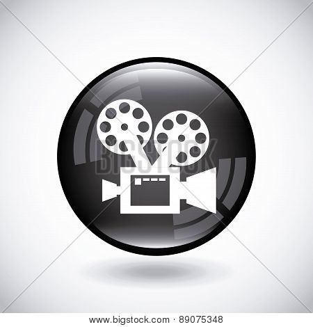 Camera film icon on black button  Vector Illustration