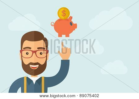 A Man pointing the piggy bank icon. A contemporary style with pastel palette, light blue cloudy sky background. Vector flat design illustration. Horizontal layout with text space on right part.