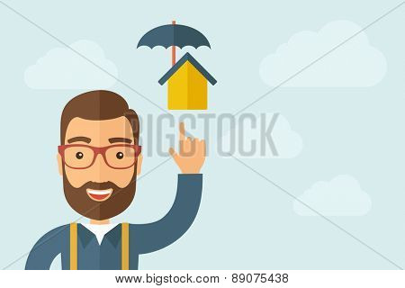 A Man pointing the man with a pregnant women icon. A contemporary style with pastel palette, light blue cloudy sky background. Vector flat design illustration. Horizontal layout with text space on