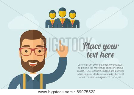 A Man pointing the three businessmen icon. A contemporary style with pastel palette, light blue cloudy sky background. Vector flat design illustration. Horizontal layout with text space on right part.