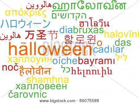 Background concept wordcloud multilanguage international many language illustration of Halloween