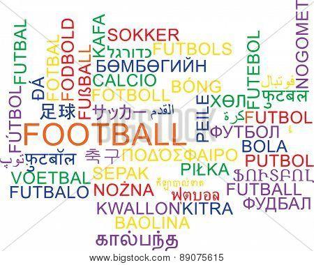 Background concept wordcloud multilanguage international many language illustration of football