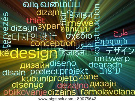 Background concept wordcloud multilanguage international many language illustration of design glowing light
