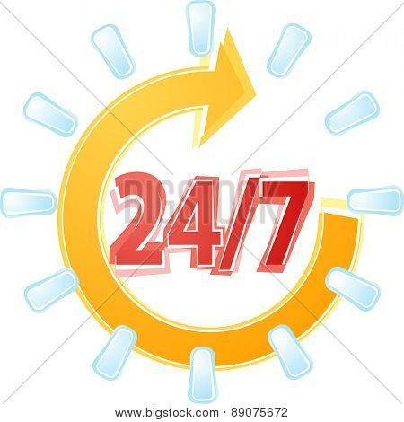 Illustration concept clipart open 24 by 7 with cyle clock symbols