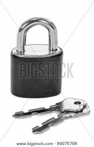 Close Up Lock And Keys On White Background