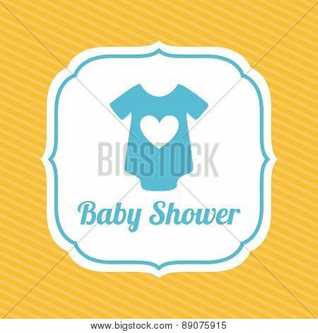 Blue baby cloth on baby shower card