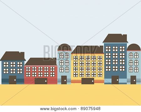 House with colors on flat style vector illustration