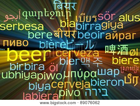 Background concept wordcloud multilanguage international many language illustration of beer glowing light