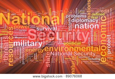 Background text pattern concept wordcloud illustration of national security glowing light