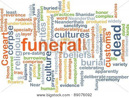 Background text pattern concept wordcloud illustration of funeral rites