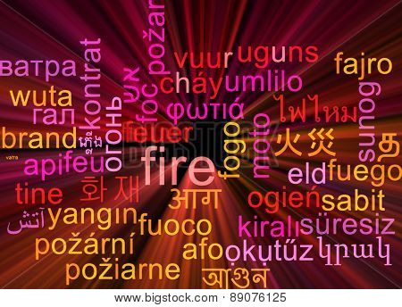Background concept wordcloud multilanguage international many language illustration of fire glowing light