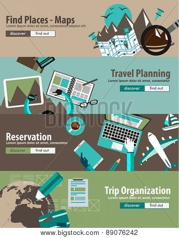 Flat Design Concept For Travel Organization and Trip Planning, room reservation, maps, find places, adventures. Ideal for printed material, paper guide, instructional brochures or flyers.